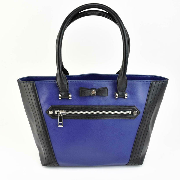 "LANVIN ""en Bleu"": Royal Blue/Black, Logo Medium Tote/Shoulder Bag (mo)"