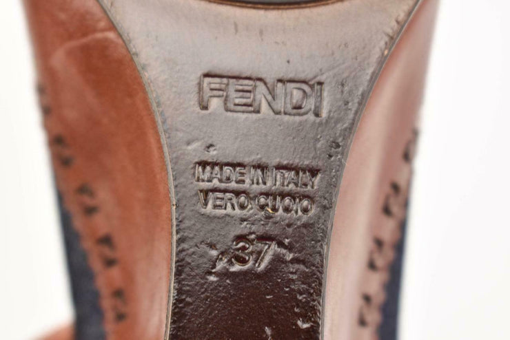 "FENDI: Cognac Brown, Leather & ""FF"" Logo Wedge Heels Sz: 6.5M"