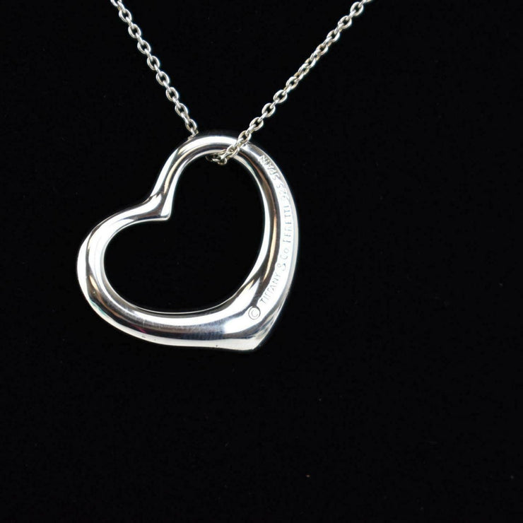 "TIFFANY & CO ""Elsa Peretti"": Sterling Silver, ""Open Heart"" Necklace (bm)"