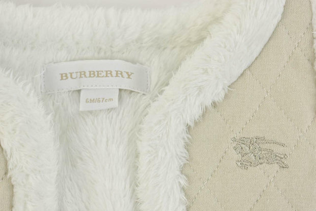 BURBERRY Baby: Beige, Quilted Logo, Lined Vest Sz: 6M/67cm