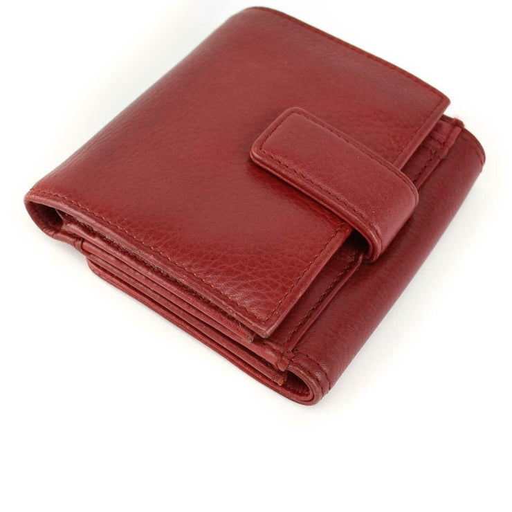MERCEDES-BENZ: Red, Leather & Silver Logo Medium Folding Wallet