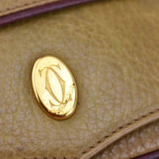 "CARTIER ""Must C"": Golden Tan, Leather & ""Double C"" Logo Clutch/Evening Bag (nq)"