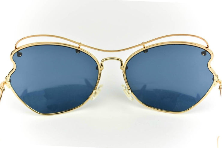 "MIU MIU ""Scenique"": Gold Metal Butterfly & Logo ""Runway"" Sunglasses (p)"