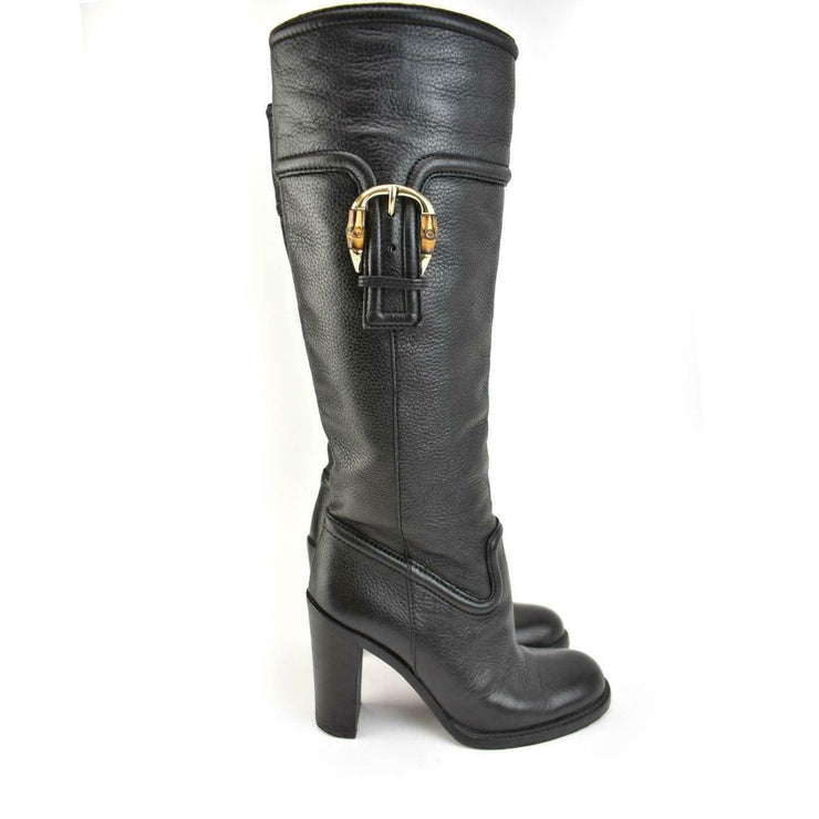 GUCCI: Black, Leather & Signature Bamboo Tall Boots Sz: 7M