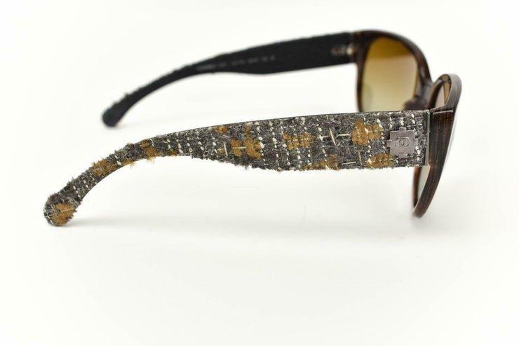 "CHANEL: Brown Horn, Signature Tweed & ""CC"" Logo Polarized Sunglasses (cv)"