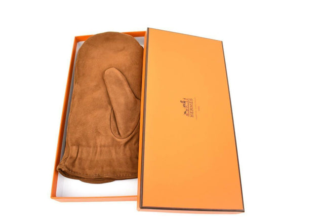 HERMES: Brown, Deerskin Leather Winter Mittens, Sz: 7 1/2 M/L (mn)