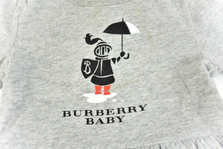 "BURBERRY ""Baby"": Gray & ""Baby Prorsum Knight"" Long Sleeve Shirt Sz: 6M/68cm"
