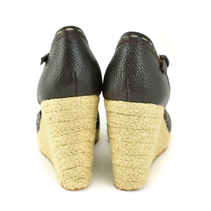 "FENDI ""Selleria"": Brown, Leather & Logo Espadrille Wedge Sandals/Heels Sz: 7M"
