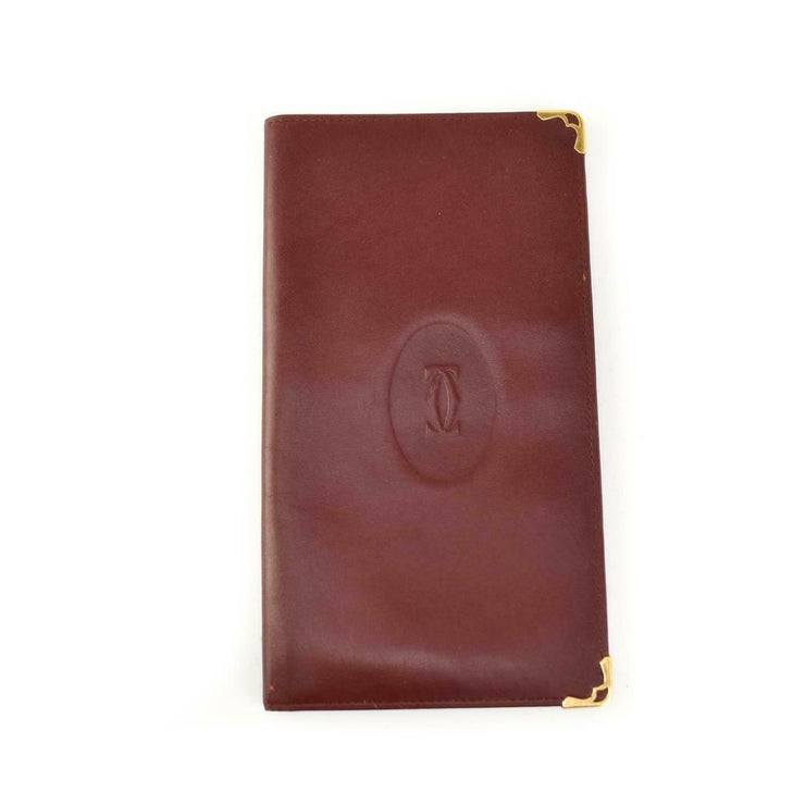 "CARTIER: Burgundy, Leather & ""Double C"" Logo, Long Folding Wallet (om)"