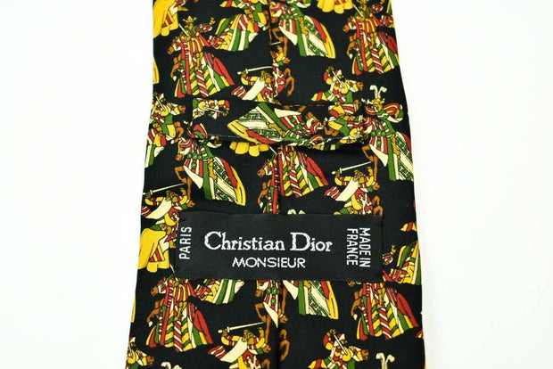 DIOR: Black & Gold, 100% Silk, Club Tie