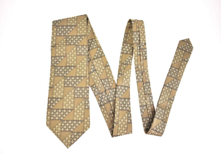"GUCCI: Beige, ""Horsebit"" 100% Silk, Club Tie (o)"