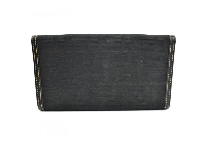 "FENDI: Black, Leather & ""FF"" Logo Long Folding Wallet (mo)"