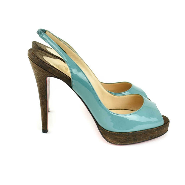 CHRISTIAN LOUBOUTIN: Teal, Patent Leather Slingback Cork Heels/Pumps Sz: 7M