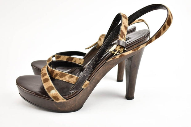 SERGIO ROSSI: Brown, Calf-Hair & Leather Sandals/Heels Sz: 7.5M