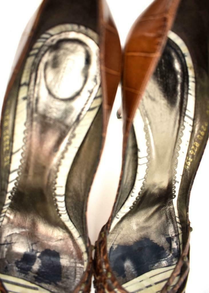 "GIORGIO ARMANI: Brown, Leather Peep-Toe ""Alligator"" Heels/Pumps Sz: 9M"