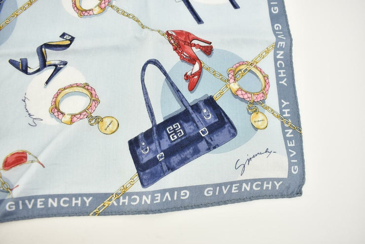 "GIVENCHY: Light Blue ""4G"" Logo, Pocket Scarf/Fazzvolo 19"" x 19"" (nw)"