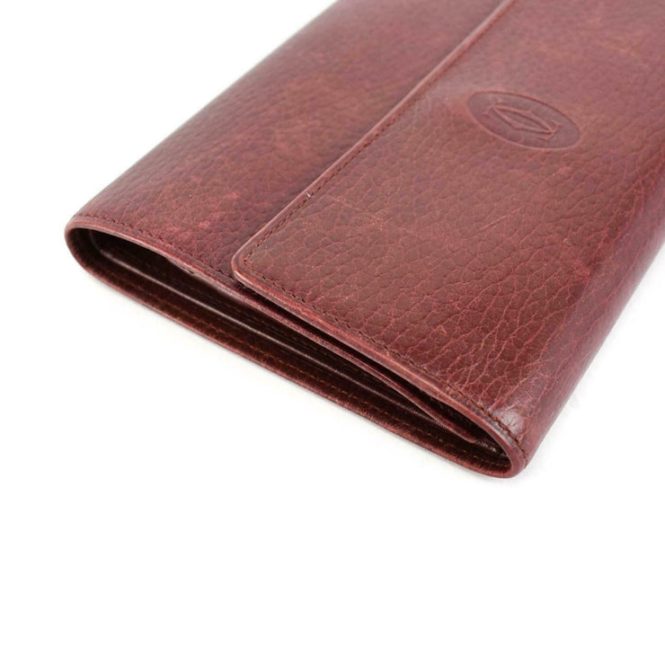 "CARTIER ""Must C"": Burgundy, Leather & ""Double C"" Logo Medium Wallet (nr)"