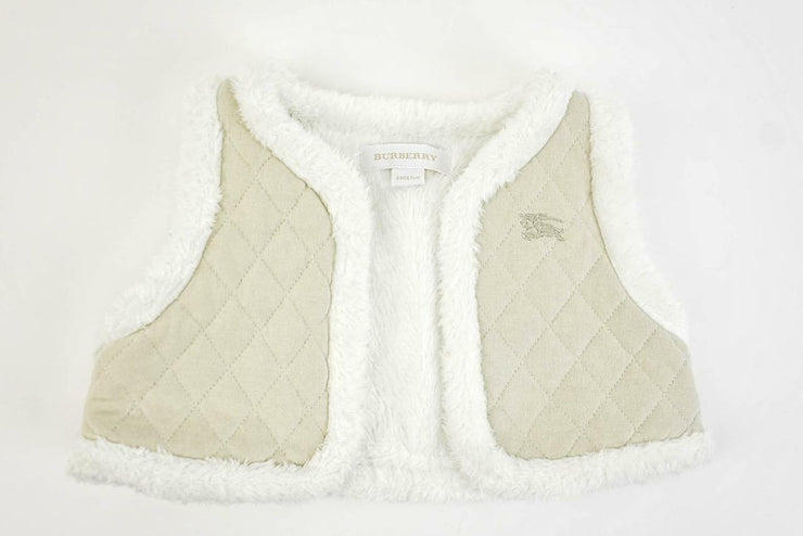 BURBERRY Baby: Beige, Quilted Logo, Lined Vest Sz: 6 Months/67cm