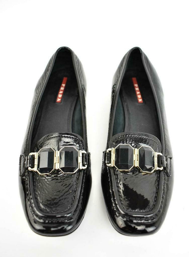 "PRADA: Black Patent Leather & ""Gems"" Loafers/Flats Sz: 6M"