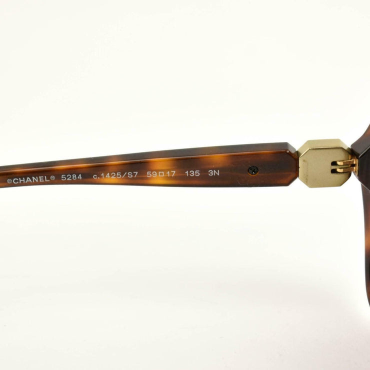 "CHANEL: Tortoise Brown & Gold ""CC"" Logo Sunglasses (hd)"