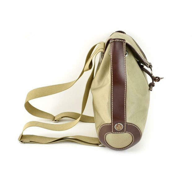 LANCEL: Khaki Nylon & Brown Leather Logo Backpack/Bag (mn)