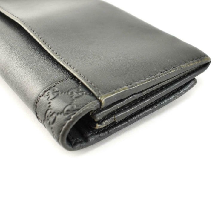 "GUCCI: Dark Gray, Leather ""GG"" Logo Long Wallet (np)"