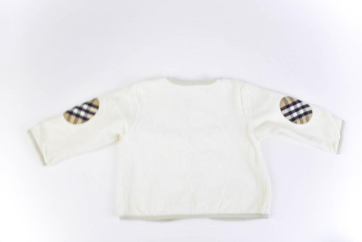 "BURBERRY: Toddlers - Off-White & ""Nova Check"" Long Sleeve Cardigan Sz: 9M/74cm"
