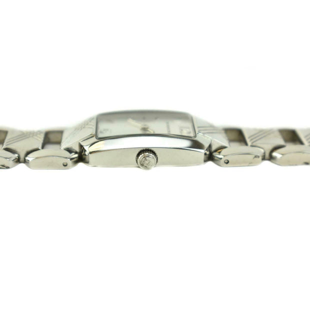 "BURBERRY: Silver, Stainless Steel ""Check"" & Logo Women's Quartz Watch (np)"