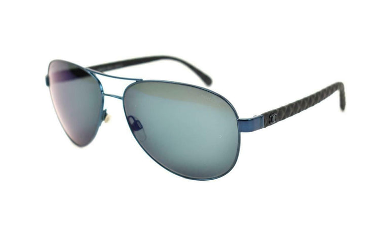 "CHANEL ""Aviator"": Blue, ""CC"" Logo & Leather, Sunglasses (ae)"