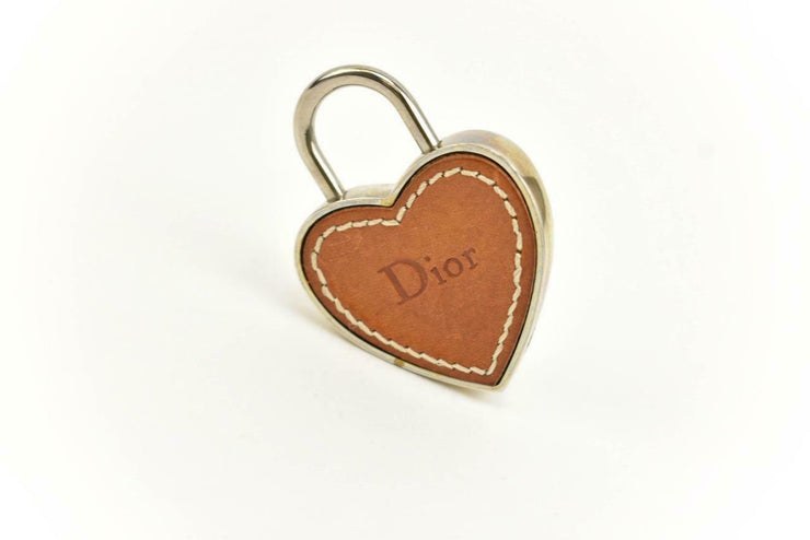 DIOR: Silver Metal, Leather & Logo Heart Padlock & Key Set/Bag Charm (mo)