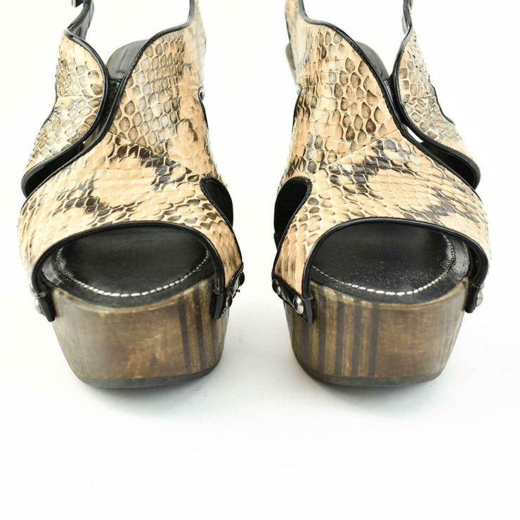 "DIOR: Beige, Leather ""Snakeskin"" Platform Heels/Sandals Sz: 7.5M"