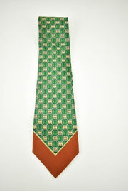 GIANFRANCO FERRE: Gold & Green Medallion, 100% Silk, Club Tie