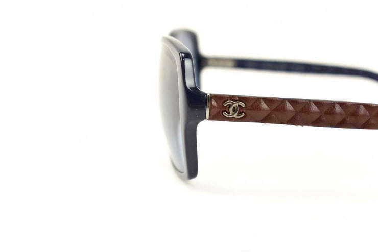 "CHANEL: Navy Blue & Burgundy Quilted Leather ""CC"" Logo Sunglasses (dv)"
