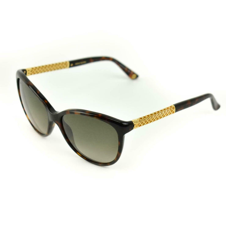 "GUCCI: Tortoise Brown & Gold-Plated ""Diamante GG"" Logo Sunglasses (mv)"