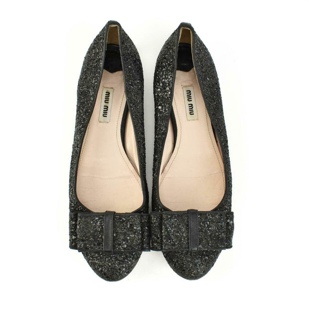 MIU MIU: Black Leather, Glittery Bow Ballet Flats Sz: 9M