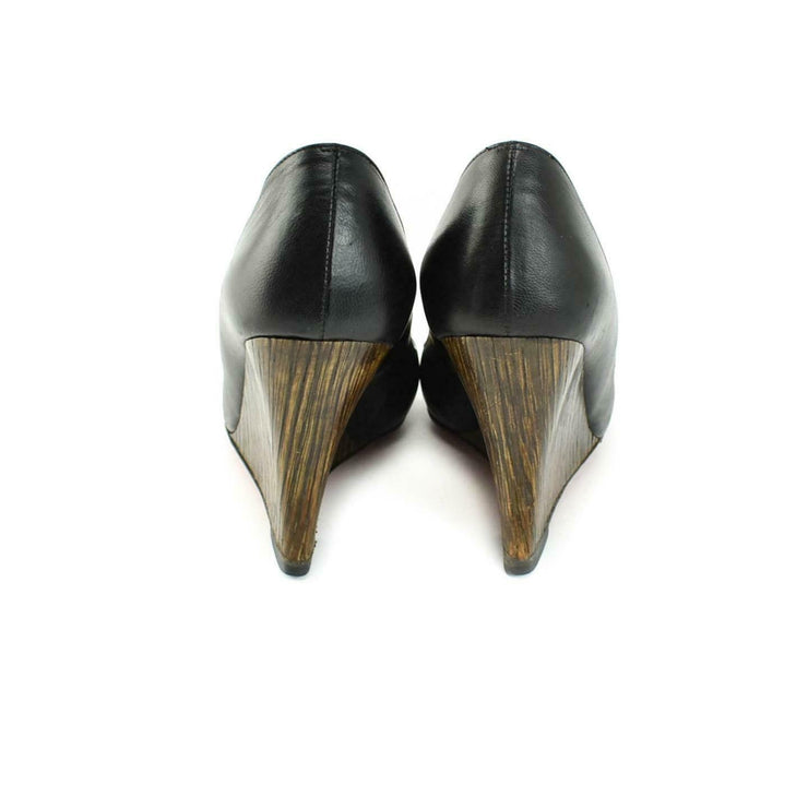 "CHRISTIAN LOUBOUTIN: Black, Leather & ""Bamboo"" Wedge Heels/Pumps Sz: 6M"