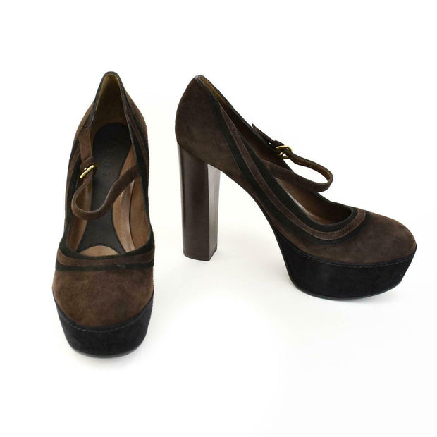MARNI: Dark Brown/Black, Leather Platform Heels/Pumps Sz: 9.5M