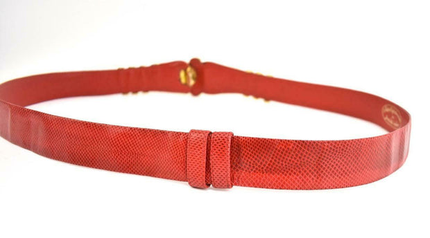"JUDITH LEIBER: Red Leather ""Python"" & Lions Head Belt - fits up to 38"" (mo)"