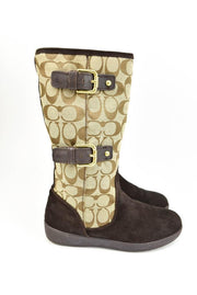 "COACH ""Tinah"": Brown, Leather & ""C"" Logo Mid-Calf Boots, Sz: 6.5M"