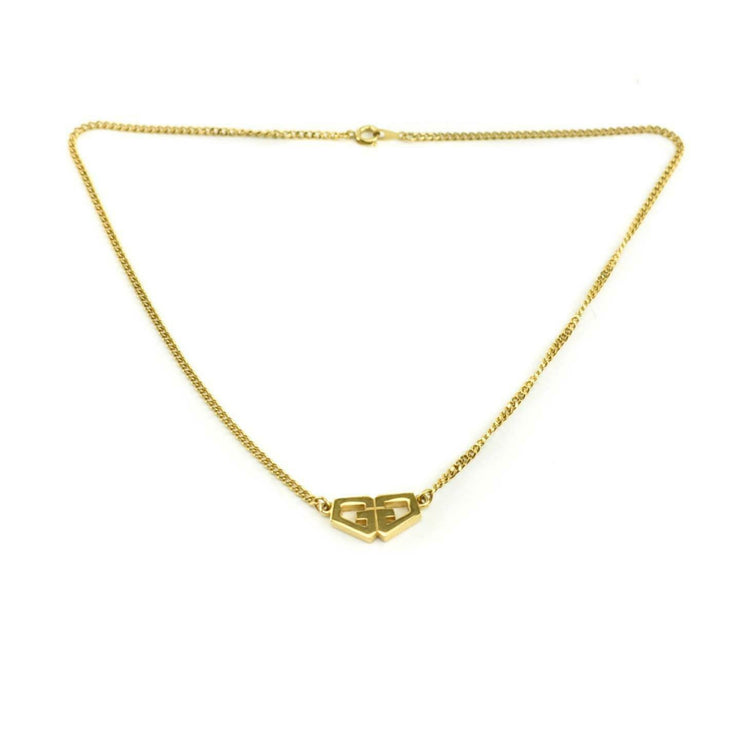 "GIVENCHY: Gold-Plated Metal, Twin ""G"" Logo Necklace (ny)"