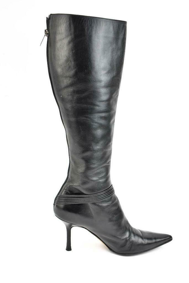 JIMMY CHOO: Black, Leather & Logo, Tall Boots Sz: 8M