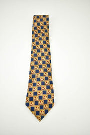 "LANVIN ""Paris"": Gold, Blue & Red Medallion, 100% Silk, Club Tie"