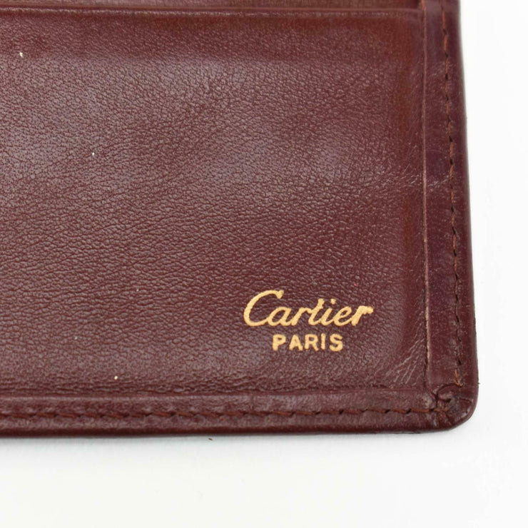 "CARTIER: Burgundy, Leather & ""Double C"" Logo, Long Folding Wallet/Checkbook (np)"