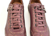 FENDI: Metallic Bordeaux, Leather & Logo Sneakers/Athletic Shoes Sz: 7.5M