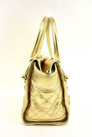 "BURBERRY: Metallic Gold Leather & ""Prorsum Knight"" Medium Shoulder/Tote Bag (sw)"