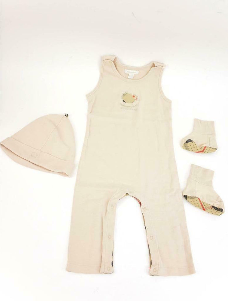 "BURBERRY Baby: Beige ""Nova Check"" Three Piece, Jumpsuit Set, Sz: 18M"