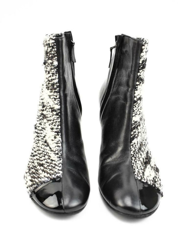"CHANEL: Black, Leather & Signature Tweed ""CC"" Logo Short Boots, Sz: 8.5M"