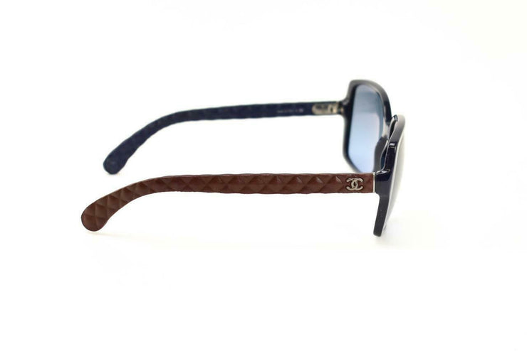 "CHANEL: Navy Blue & Burgundy Quilted Leather ""CC"" Logo Sunglasses (eb)"