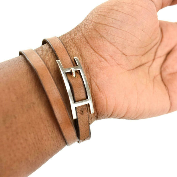"HERMES ""Hapi"": Brown, Leather & Silver ""H"" Logo Wrap Bracelet/Choker (or)"