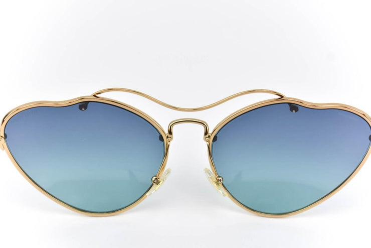 "MIU MIU ""Scenique"": Gold, Metal & Logo Gradient ""Runway"" Sunglasses (q)"